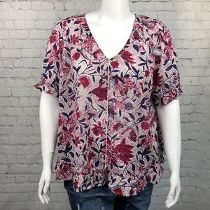 Lucky Brand Navy & Magenta Printed Top Size 2X